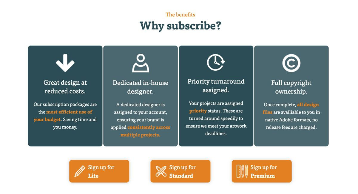 Full service design - benefits of subscription services